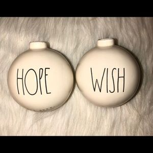 "Rae Dunn""Hope & Wish""Artisan Collection Xmas Balls"